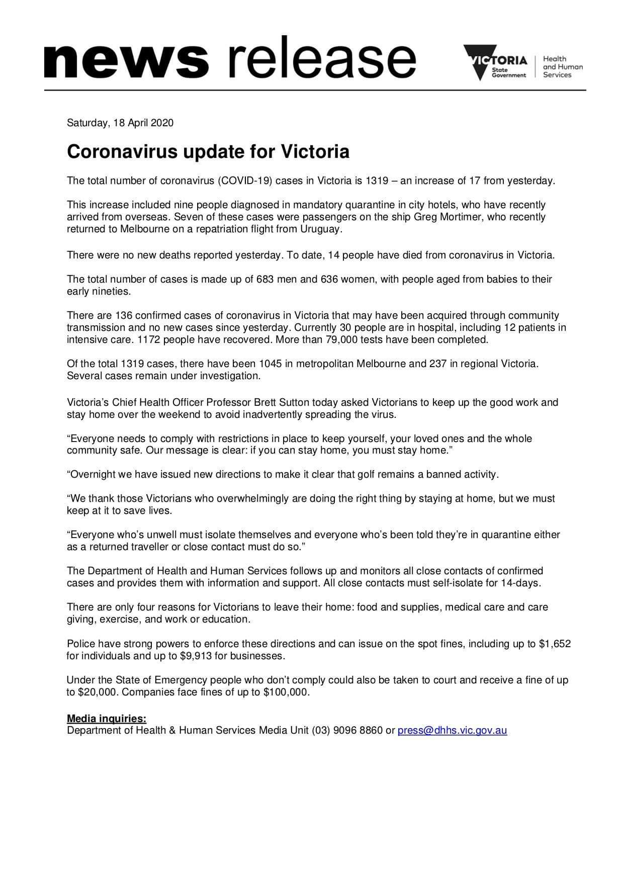 Latest update on COVID-19 for Victoria