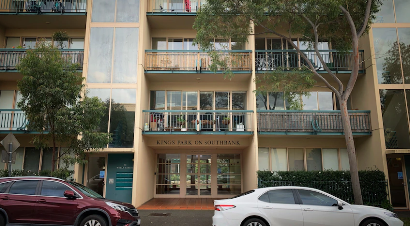 The area has been declared a restricted area as two people have been confirmed infected in an apartment in Victoria South Bank.
