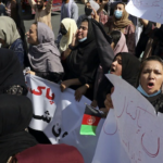 Rally against the Taliban in Kabul, the capital of Afghanistan. Taliban fire to disperse thousands of people, including women